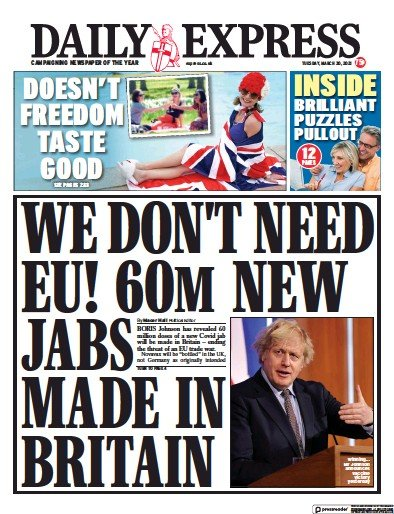 Daily Express (UK) Newspaper Front Page for 30 March 2021