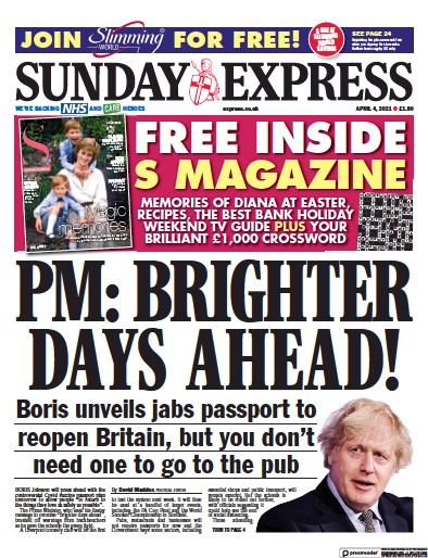 Daily Express Sunday (UK) Newspaper Front Page for 4 April 2021