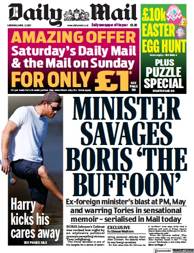 Daily Mail (UK) Newspaper Front Page for 3 April 2021