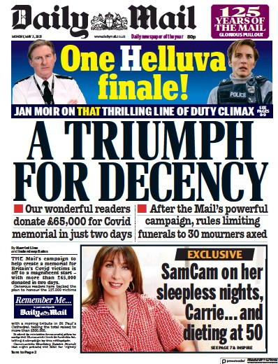 Daily Mail (UK) Newspaper Front Page for 3 May 2021