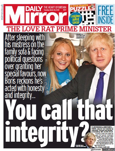 Daily Mirror (UK) Newspaper Front Page for 30 March 2021