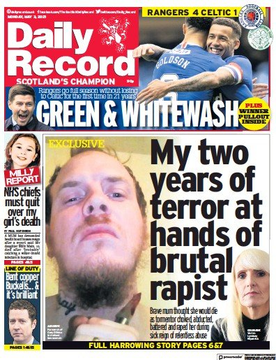 Daily Record (UK) Newspaper Front Page for 3 May 2021