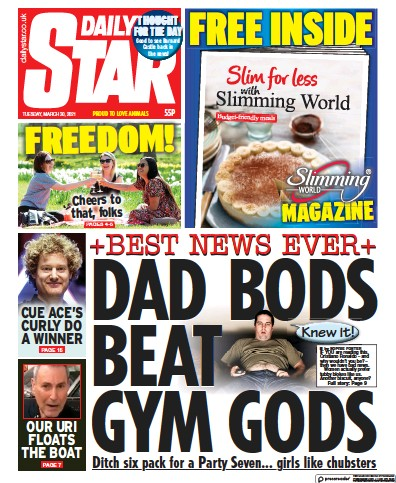 Daily Star (UK) Newspaper Front Page for 30 March 2021