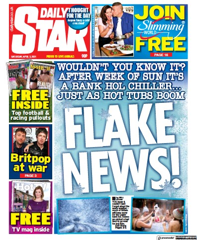 Daily Star (UK) Newspaper Front Page for 3 April 2021