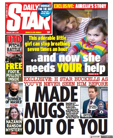 Daily Star (UK) Newspaper Front Page for 3 May 2021