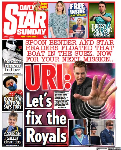 Daily Star Sunday (UK) Newspaper Front Page for 4 April 2021