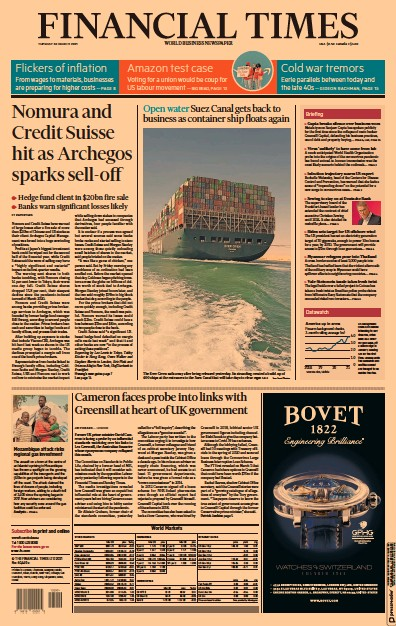 Financial Times (UK) Newspaper Front Page for 30 March 2021