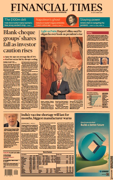 Financial Times (UK) Newspaper Front Page for 3 May 2021