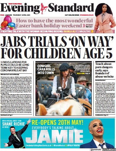 London Evening Standard (UK) Newspaper Front Page for 3 April 2021