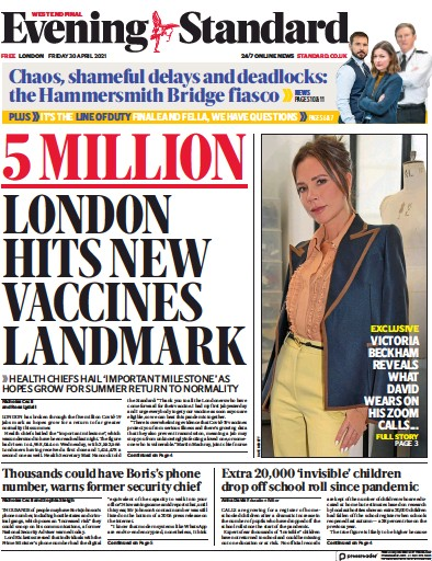 London Evening Standard (UK) Newspaper Front Page for 3 May 2021