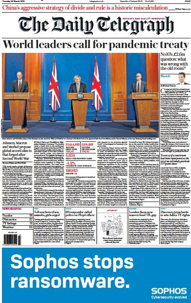 The Daily Telegraph (UK) Newspaper Front Page for 30 March 2021