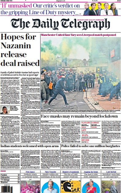 The Daily Telegraph (UK) Newspaper Front Page for 3 May 2021