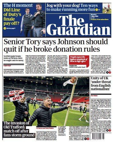 The Guardian (UK) Newspaper Front Page for 3 May 2021