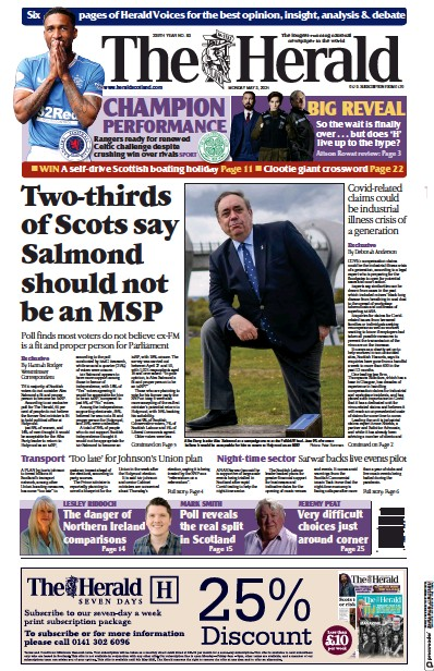 The Herald (UK) Newspaper Front Page for 3 May 2021