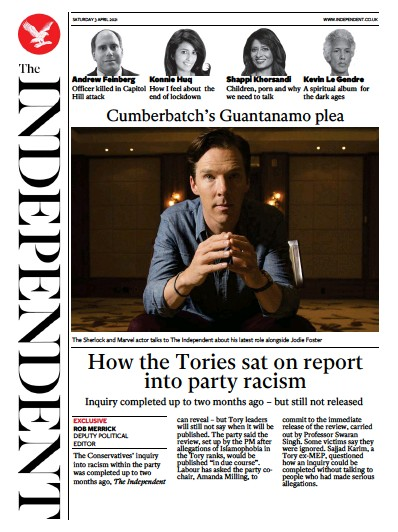 The Independent (UK) Newspaper Front Page for 3 April 2021