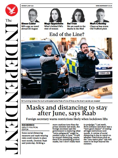 The Independent (UK) Newspaper Front Page for 3 May 2021